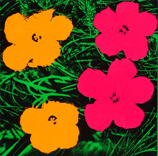 Andy Warhol (1928–1987), Flowers, 1964. Fluorescent paint and silkscreen ink on linen, 24 x 24 in. (61 x 61 cm). The Art Institute of Chicago; gift of Edlis/Neeson Collection, 2015.123