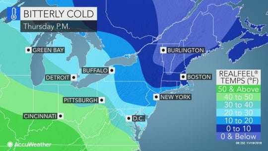 Bitter cold is expected to freeze the Lower Hudson Valley on Thanksgiving.