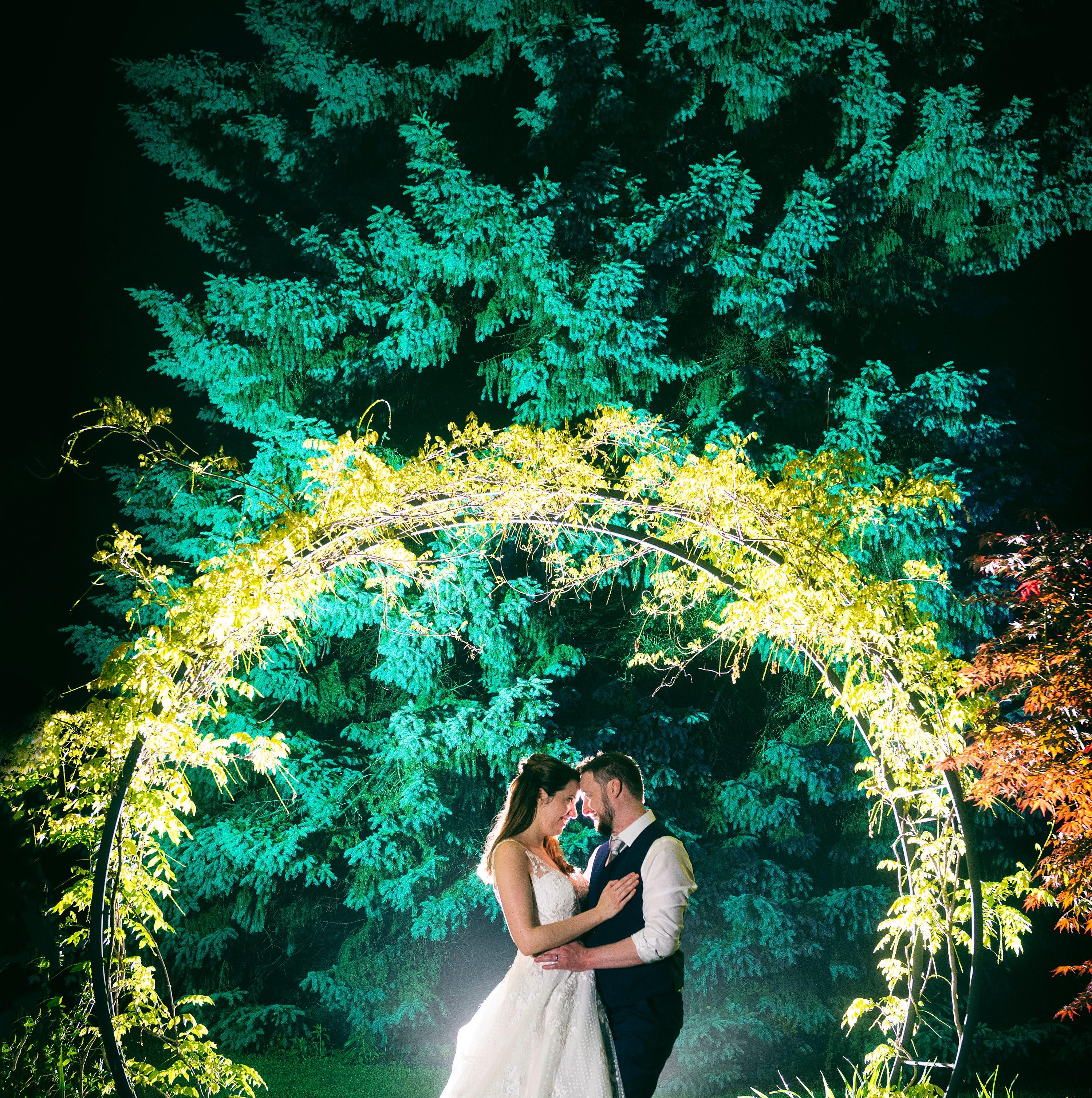 Spectacular night shots develop as Delaware wedding photographers combine skills