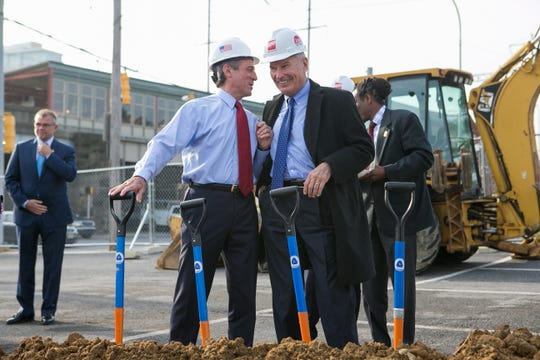 Wilmington Mayor Mike Purzycki chats with Gov. John Carney at the November ground-breaking ceremony to kick off the new transit center east of Walnut Street and north of Front Street.