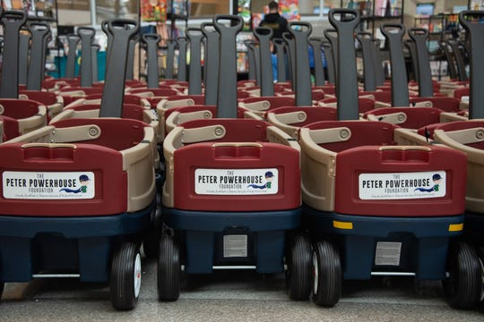 Wagons donated by The Peter Powerhouse Foundation to the Nemours/A.I. duPont Hospital for Children on Monday.