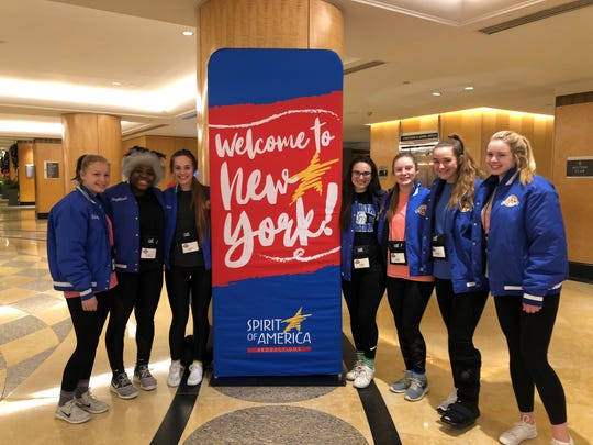 Cheerleaders from Wichita Christian return to New York City to take part in the Macy's Thanksgiving Day Parade. Those appearing in Thursday's parade include: left to right, Bailey Cox, Naphtali Bateman, Alaina Wolf, Lauren Faurie, Olivia Brown, Maddison Harris and Jenna Findley