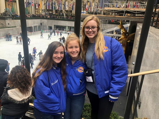 Wichita Christian School cheerleaders got an early start to sight-seeing at Rockefeller Center after arriving in New York City this weekend. The squad will participate in the Macy's Thanksgiving Day Parade Thursday morning.