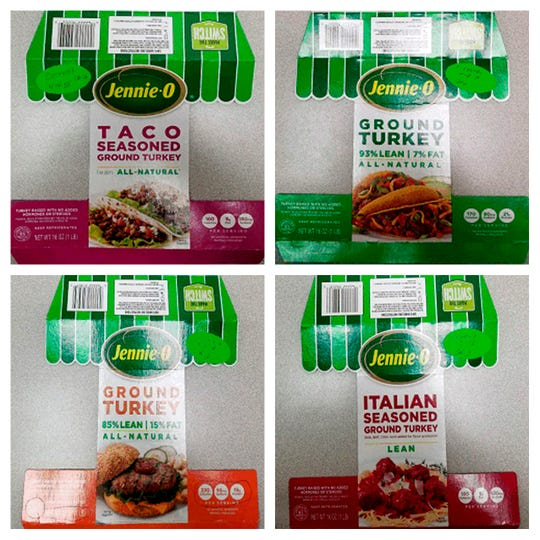 This combination of images provided by Hormel Foods on Friday, Nov. 16, 2018 shows packaging for four types of Jennie-O ground raw turkey with a P190 designation which have been recalled due to concerns over salmonella. Salmonella in food is estimated to be responsible for 1 million illnesses a year, with symptoms including vomiting, diarrhea and stomach cramps.