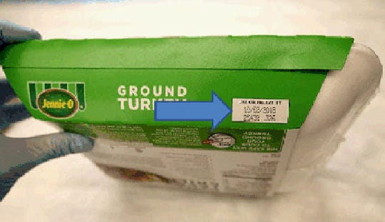 This image provided by Hormel Foods on Friday, Nov. 16, 2018 shows the production code information on the side of the sleeve of Jennie-O-Turkey that is being recalled.  Jennie-O-Turkey is recalling more than 91,000 pounds of raw turkey in an ongoing salmonella outbreak. Regulators say additional products from other companies could be named as their investigation continues.  The products being recalled include 1-pound packages of raw, ground turkey and were shipped to retailers nationwide. Regulators say the product should be thrown away and not eaten.