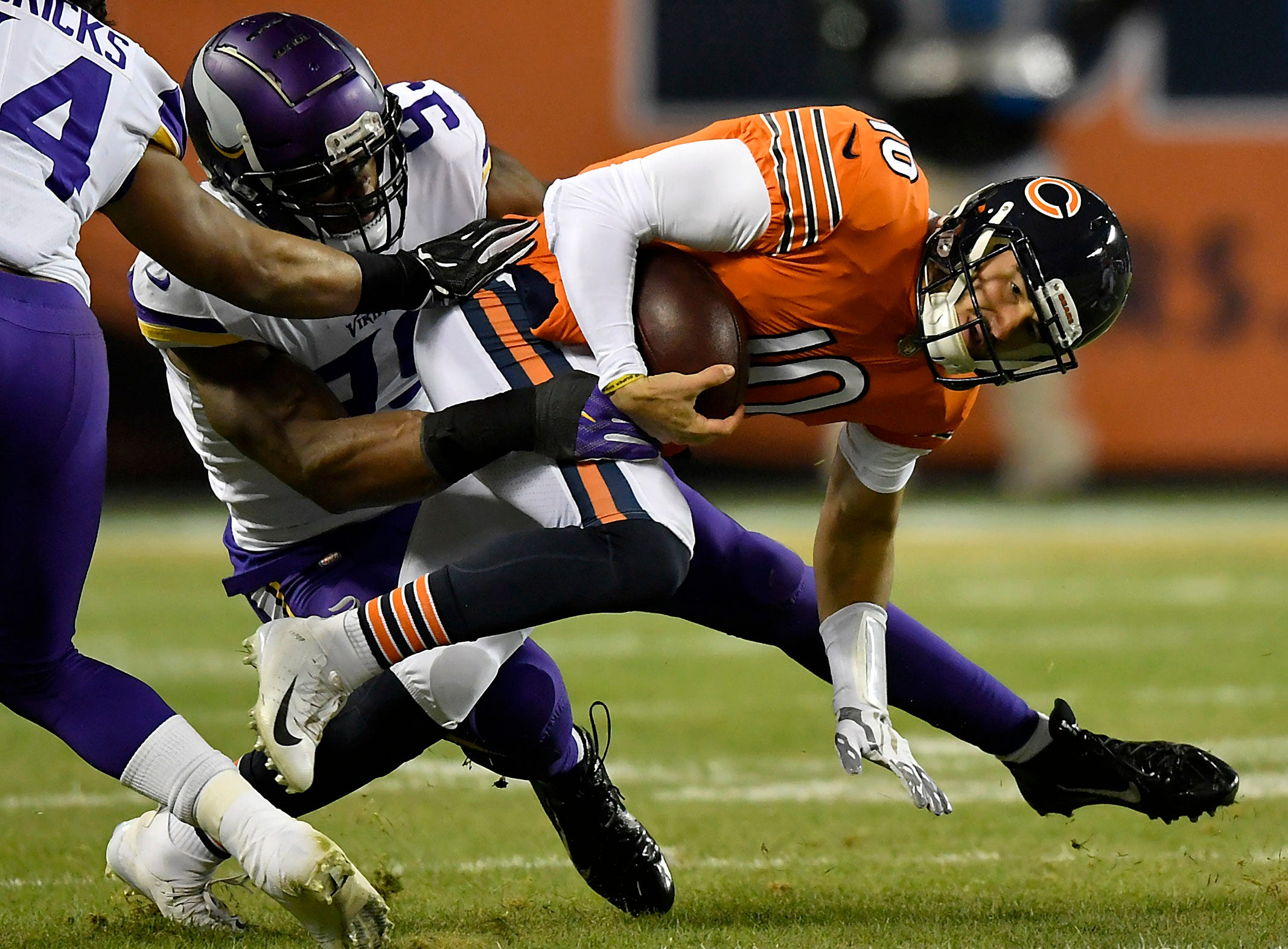 Chicago Bears quarterback Mitchell Trubisky is tackled by Minnesota Vikings defensive end Danielle Hunter at Soldier Field.