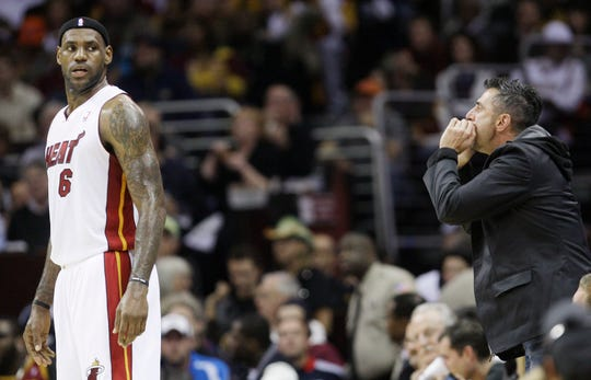 A fan yells at Miami Heat forward LeBron James during his return to Cleveland on Dec. 2, 2010.