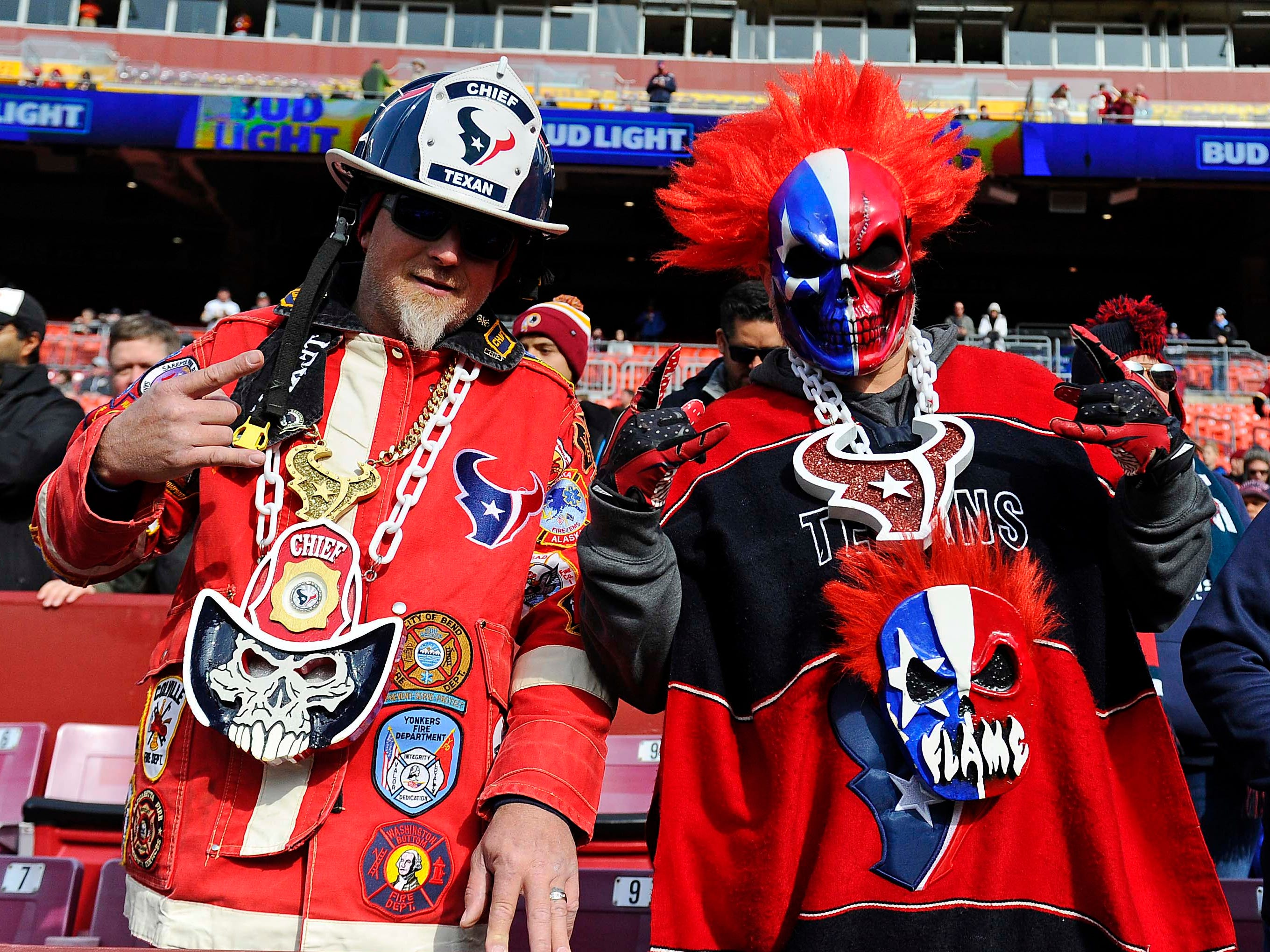 Houston Texans fans before the game against the Washington Redskins at FedEx Field.