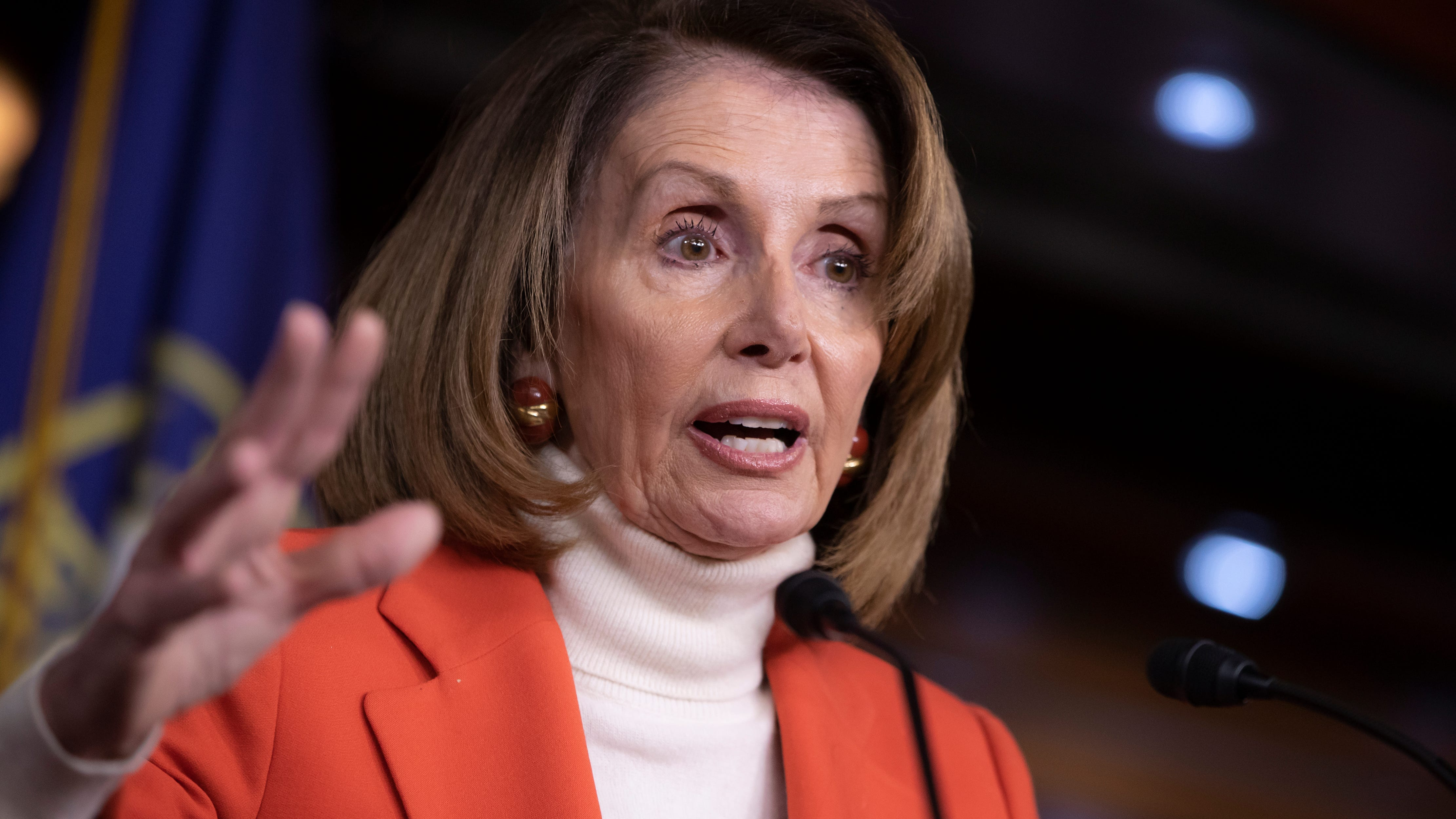 House Minority Leader Nancy Pelosi, D-Calif., faces reporters during a news conference at the Capitol in Washington, Nov. 15, 2018.