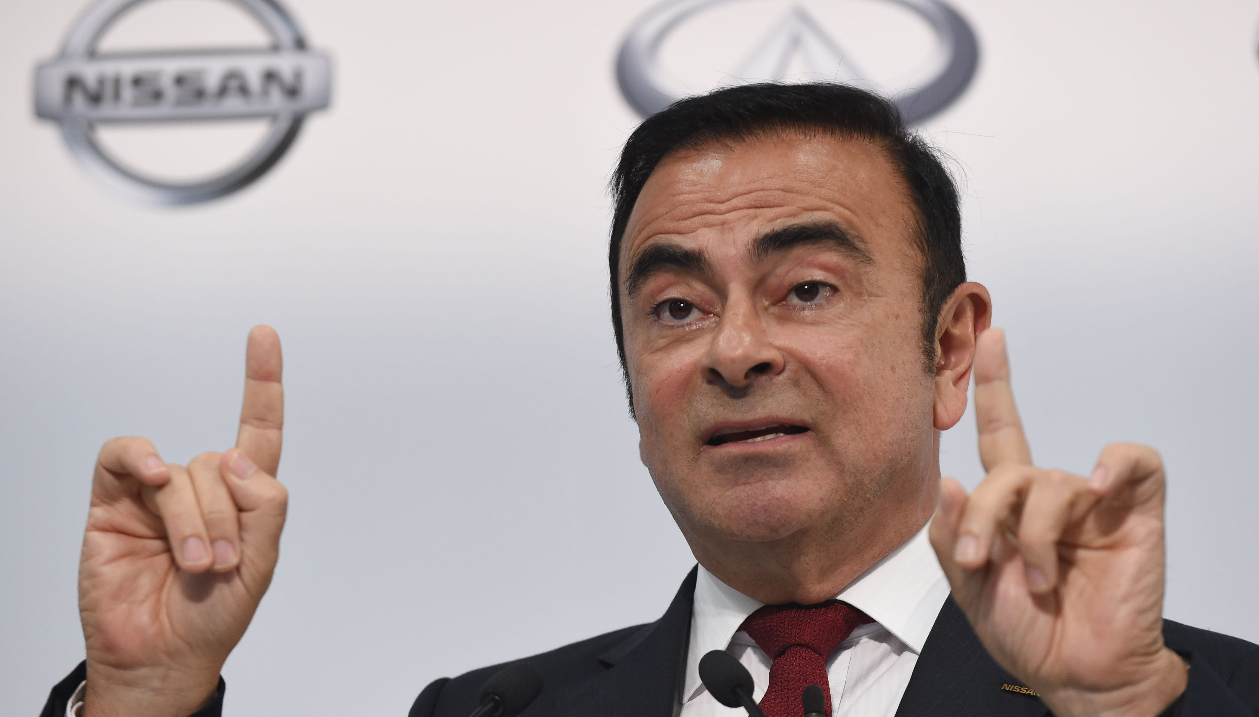 (FILES) This file photo taken in 2015 shows Nissan Motors chairman and CEO Carlos Ghosn speaking during the company's financial results press conference in Yokohama. Japanese prosecutors were expected to arrest Carlos Ghosn, head of the Renault-Nissan-Mitsubishi alliance, on suspicion of false income reports, local media reported Monday.