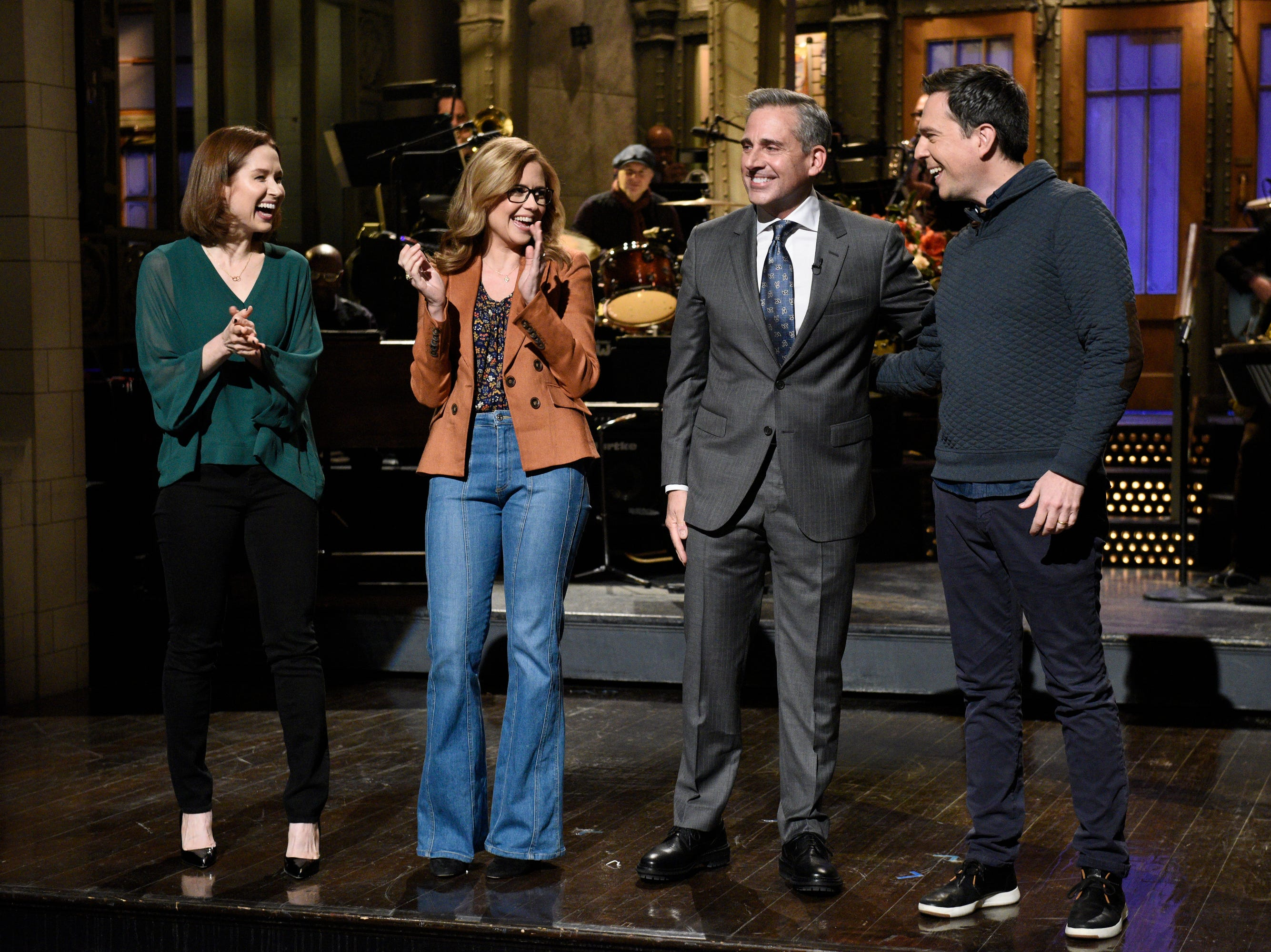 "Steve Carell kicked off his ""SNL"" hosting duties on Nov. 17 with a monologue in which he vehemently denied the possibility of an ""Office"" renuion, much to the chagrin of former castmates Ellie Kemper, Jenna Fischer and Ed Helms, who made surprise cameos."