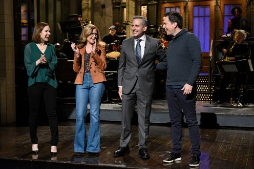 """Steve Carell kicked off his """"SNL"""" hosting duties on Nov. 17 with a monologue in which he vehemently denied the possibility of an """"Office"""" renuion, much to the chagrin of former castmates Ellie Kemper, Jenna Fischer and Ed Helms, who made surprise cameos. NBC, Will Heath/NBC"""