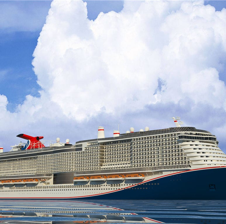 A new Carnival Cruise Line ship scheduled to debut in 2020 will feature a new-for-Carnival red, white and blue hull design.