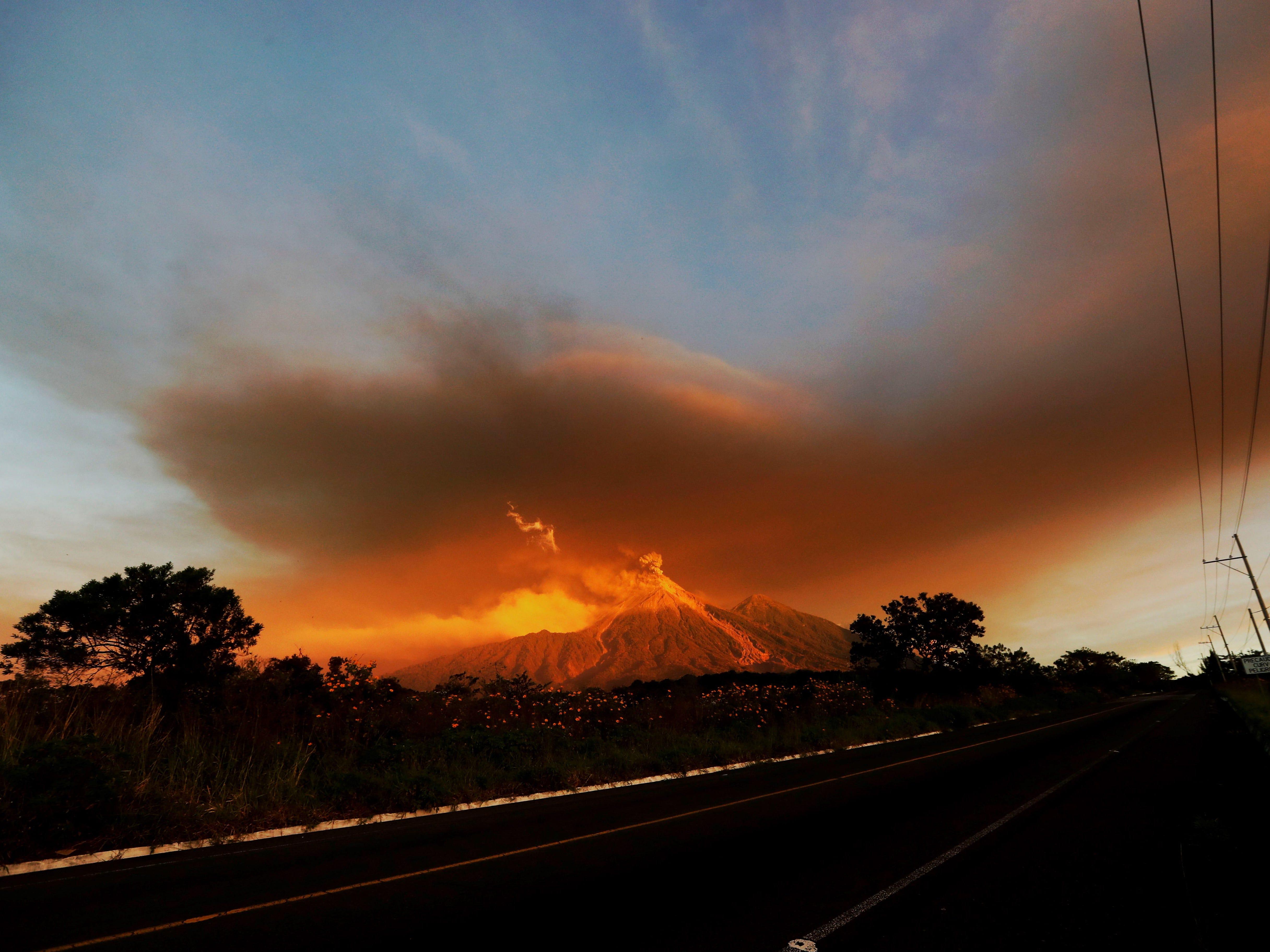 The Fuego volcano erupts at sunrise in Escuintla, Guatemala, Nov. 19, 2018.