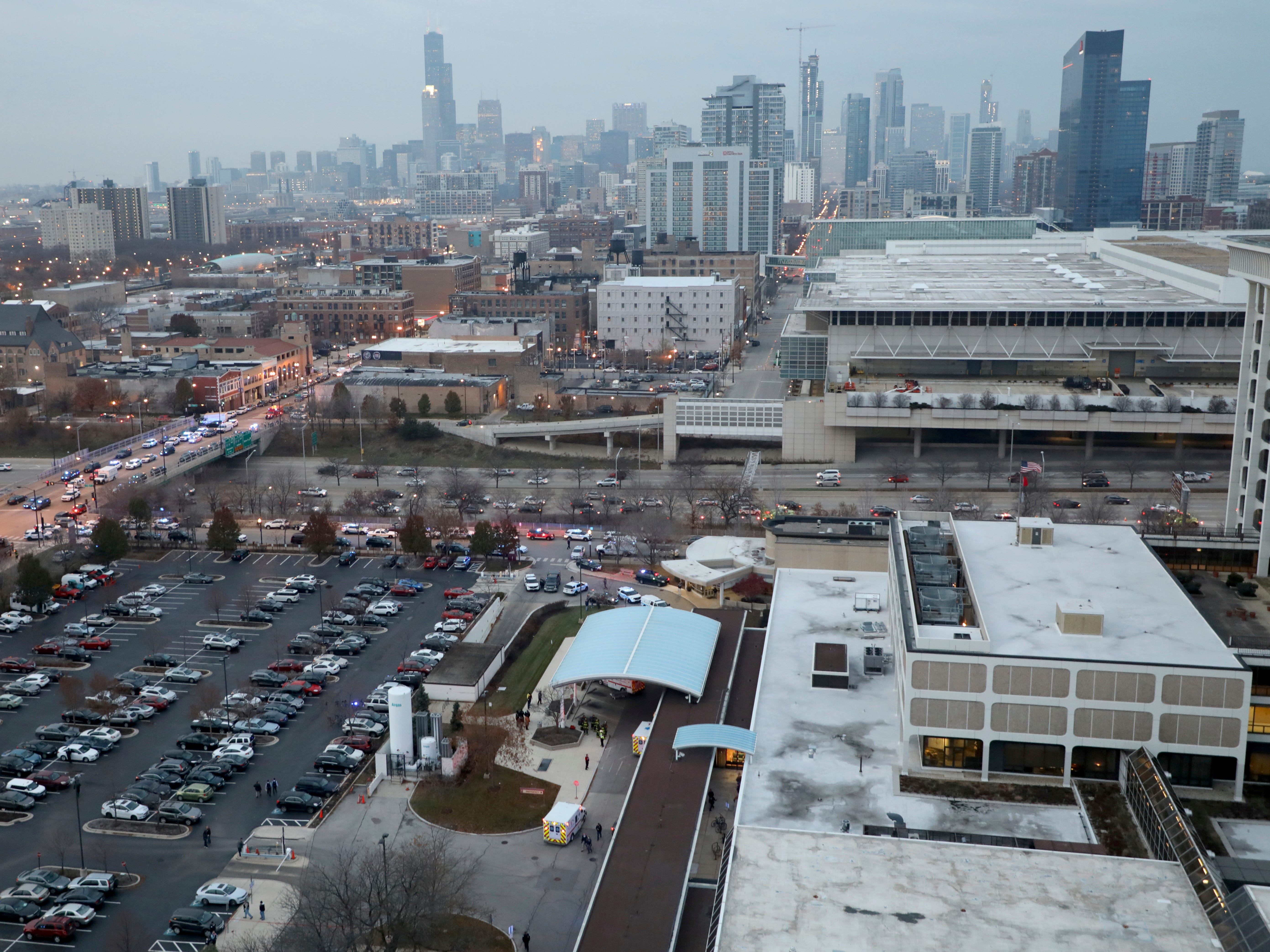 A shooting at Mercy Hospital in Chicago  on Nov. 18, 2018, has wounded multiple people, including a suspect and a police officer, authorities said.
