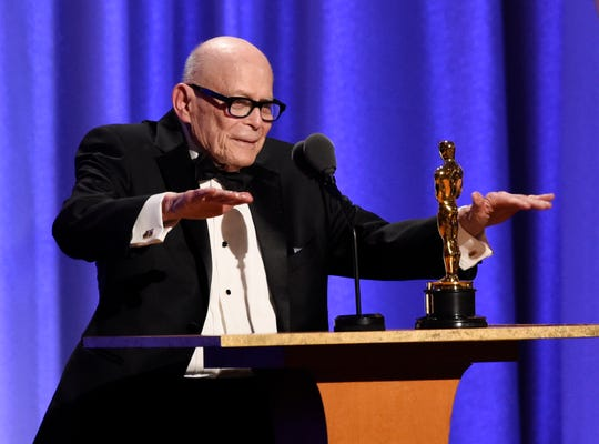 Publicist Marvin Levy accepts his honorary Oscar onstage at the Governors Awards.