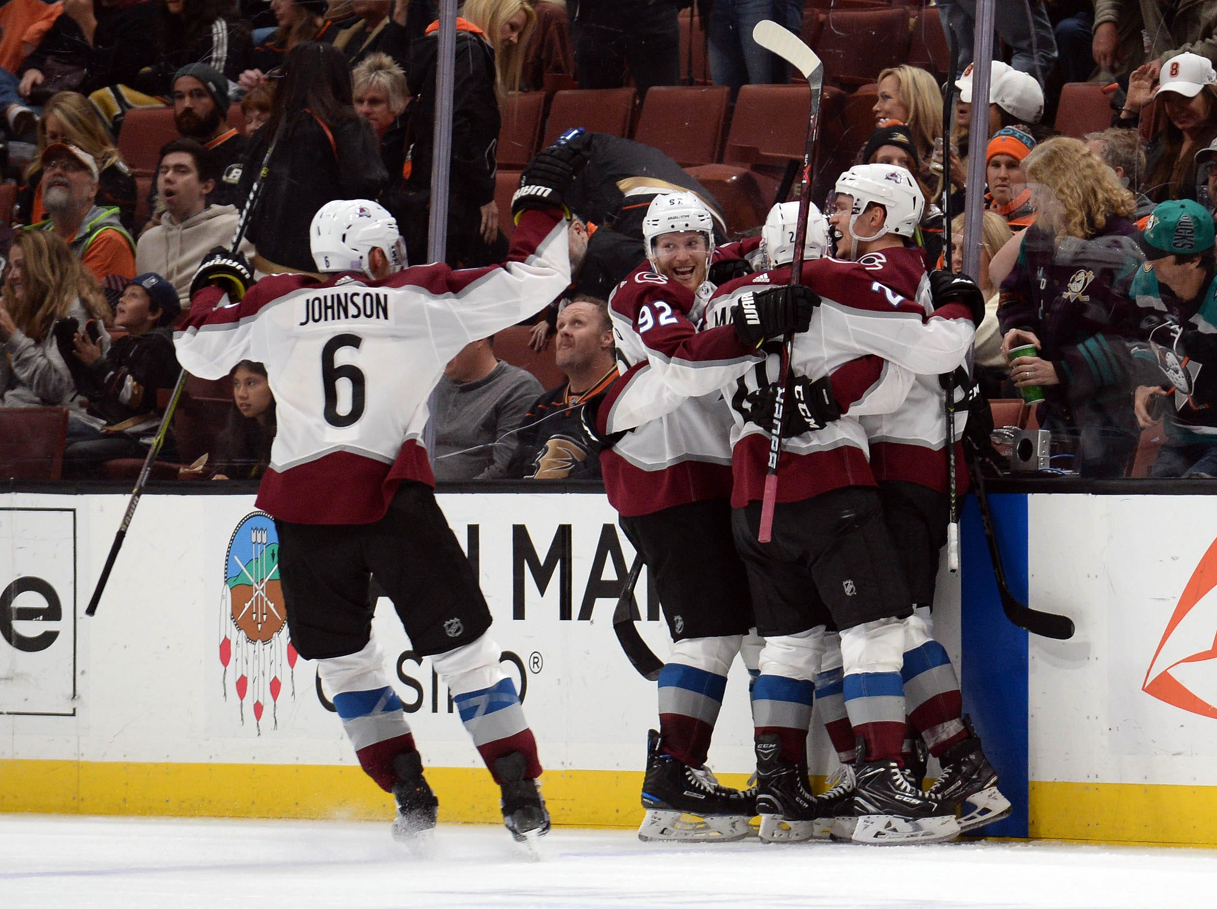 Nov. 18: Colorado Avalanche right wing Mikko Rantanen (96) celebrates his game-winning goal in overtime against the Anaheim Ducks with center Nathan MacKinnon (29), defenseman Erik Johnson (6) and left wing Gabriel Landeskog (92).