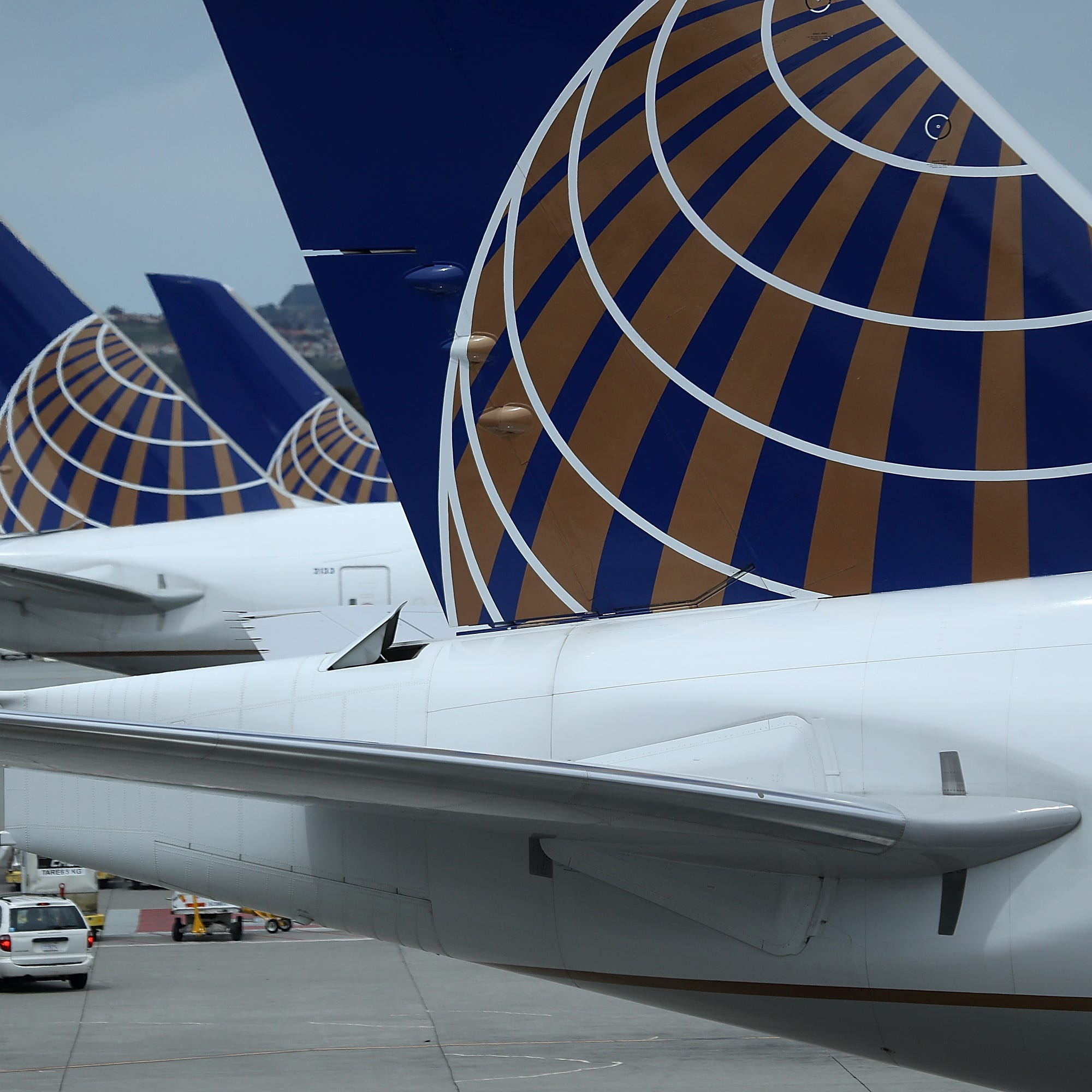 United Airlines planes sit on the tarmac at San Francisco International Airport on April 18, 2018 in San Francisco, California.