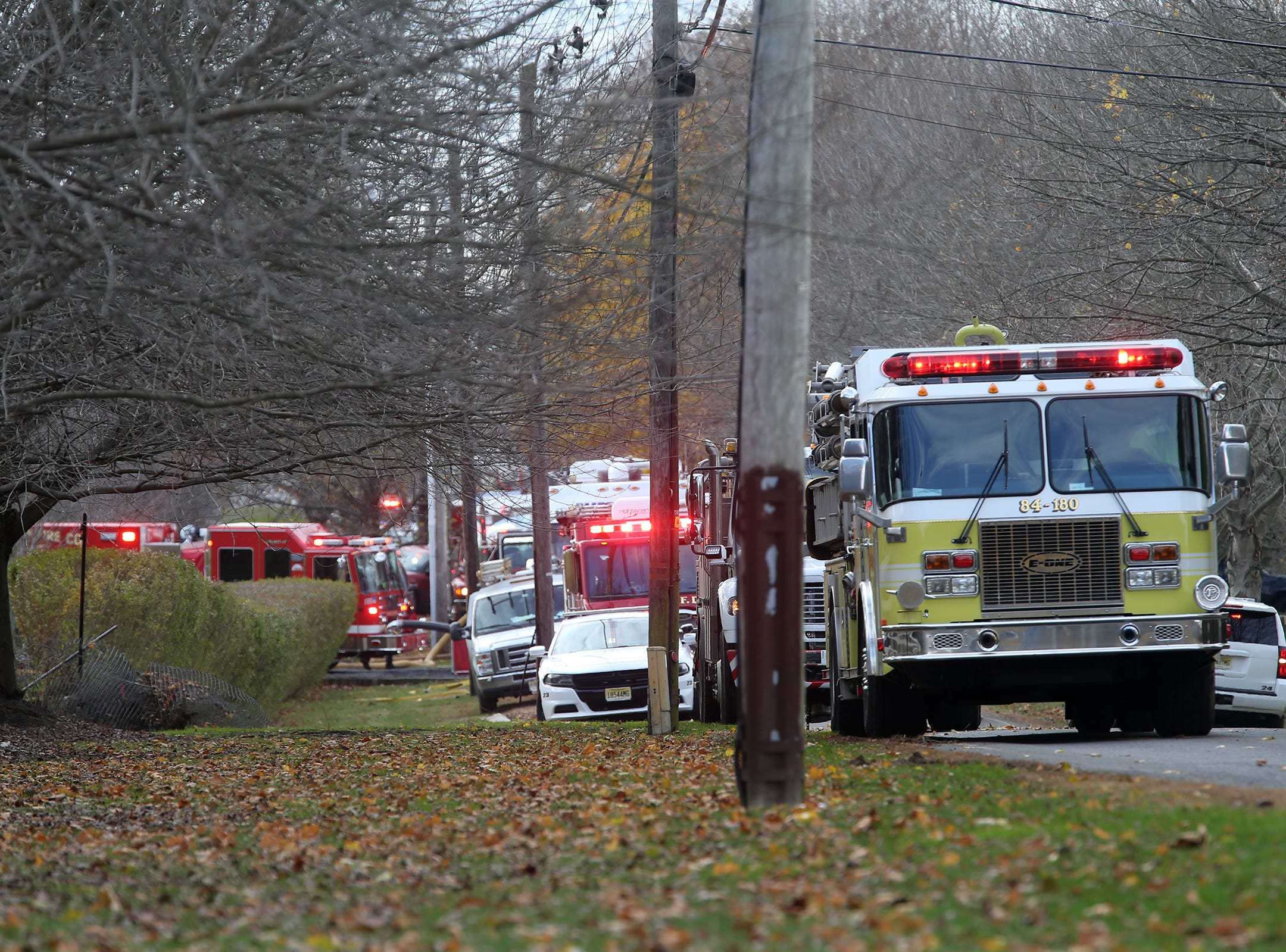 Scene of a multiple fatal fire at 15 Willow Brook Road in Colts Neck, NJ Tuesday November 20, 2018.