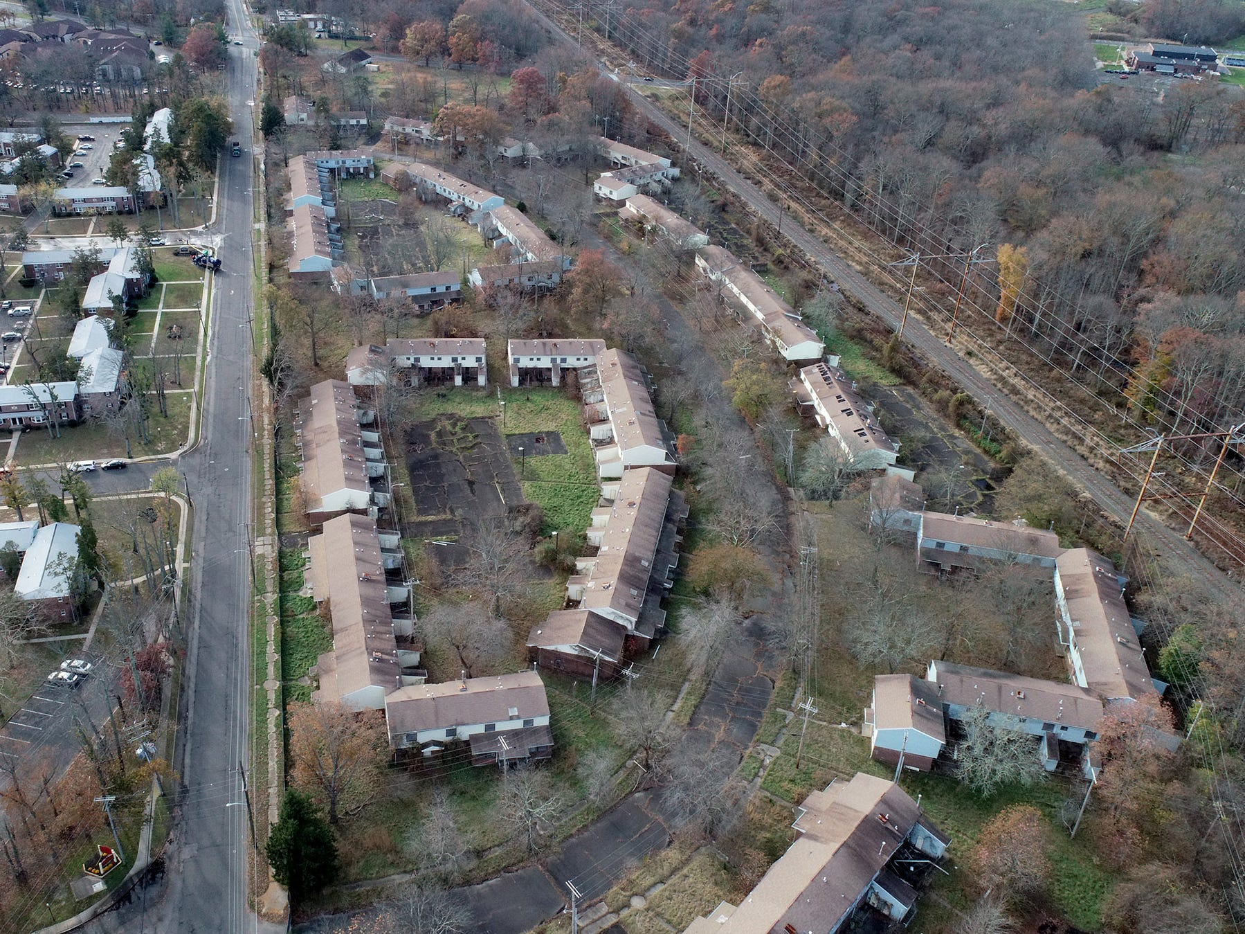 The Howard Commons area (right) on the former Fort Monmouth property is shown Wednesday, November 14, 2018.