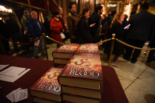 "Close up books of ""Fire & Blood"" written by New Jersey native George R.R. Martin, seen during the event at the Loew's Jersey Theatre in Jersey City on 11/19/18."