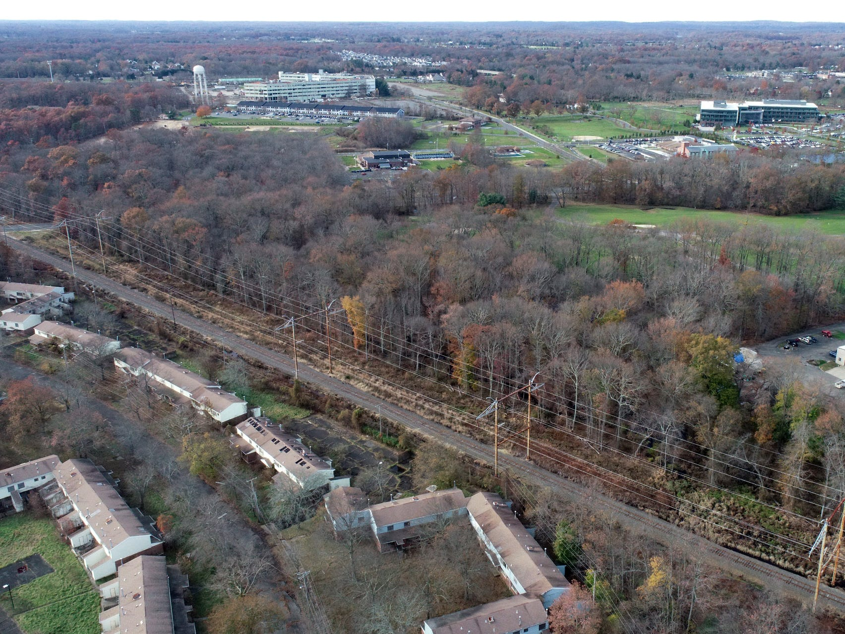 The Howard Commons area (lower left) on the former Fort Monmouth property is shown Wednesday, November 14, 2018.