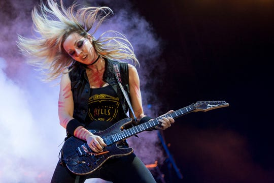 Guitarist Nita Strauss from the Alice Cooper band performs at the Rock in Rio Festival in the Olympic Park, Rio de Janeiro, Brazil, on September 21, 2017.