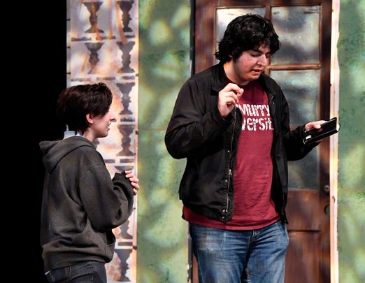 "Ashleigh Moss and Gus Rios rehearse for the McMurry University production of ""Proof"" Monday Nov. 19, 2018."