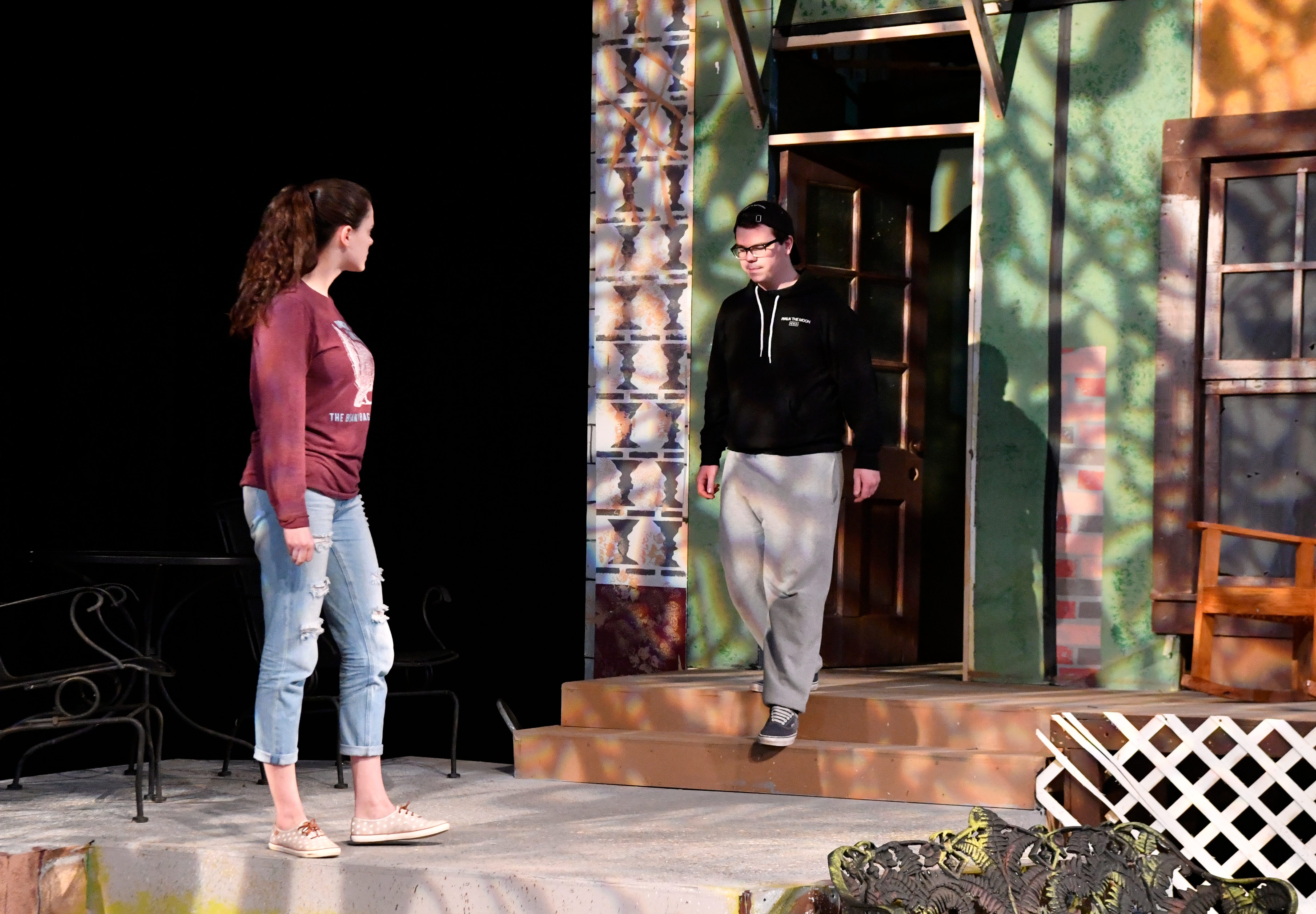 """Lauren Bridwell and Kevin Roberts rehearse for the McMurry University production of """"Proof."""""""