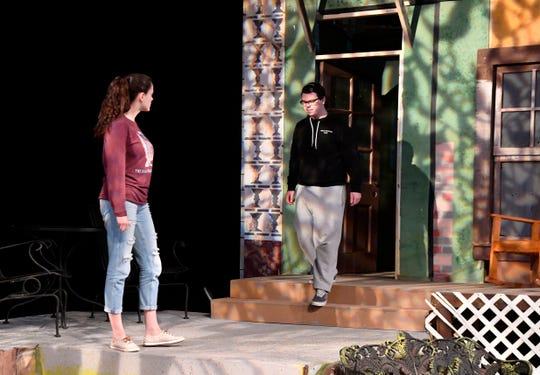 "Lauren Bridwell and Kevin Roberts rehearse for the McMurry University production of ""Proof."""