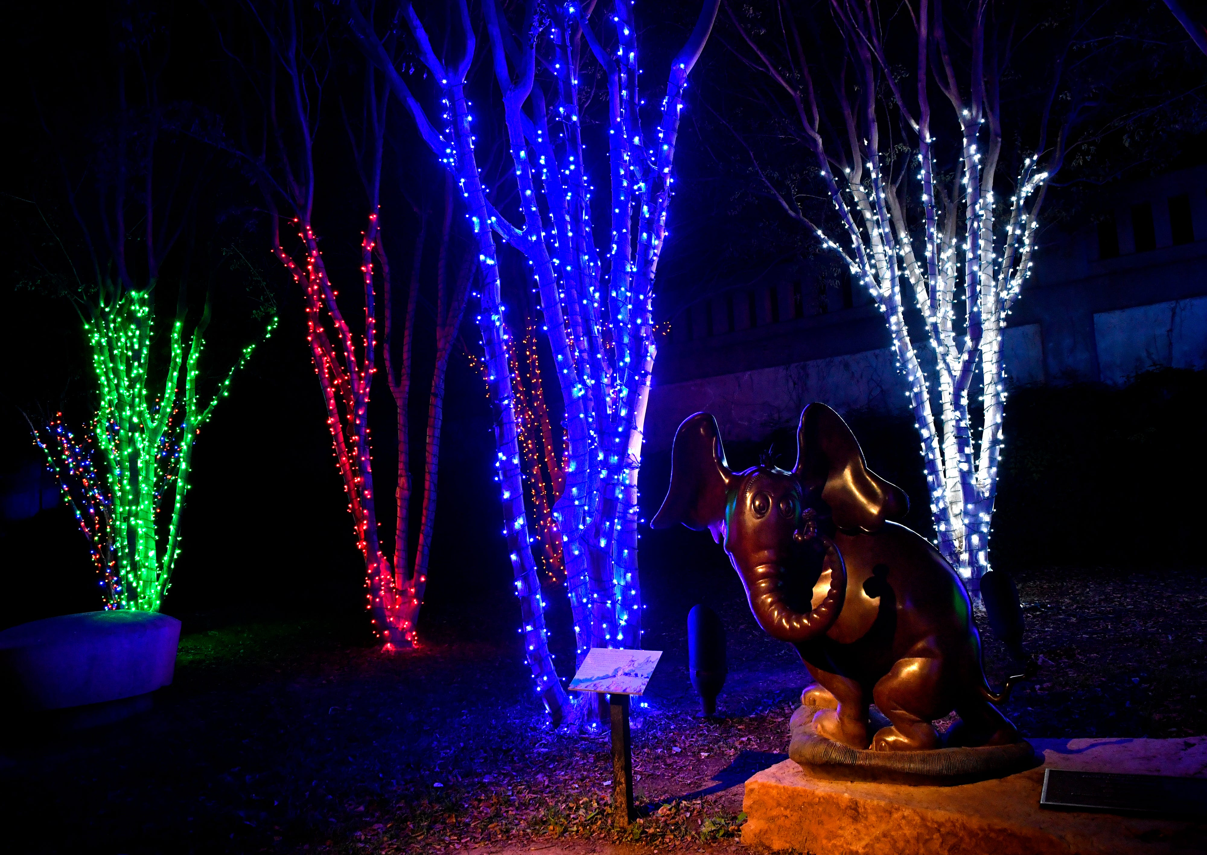 "A statue based on the Dr. Seuss book ""Horton Hears a Who"" is surrounded by Christmas lights at Everman Park Tuesday."