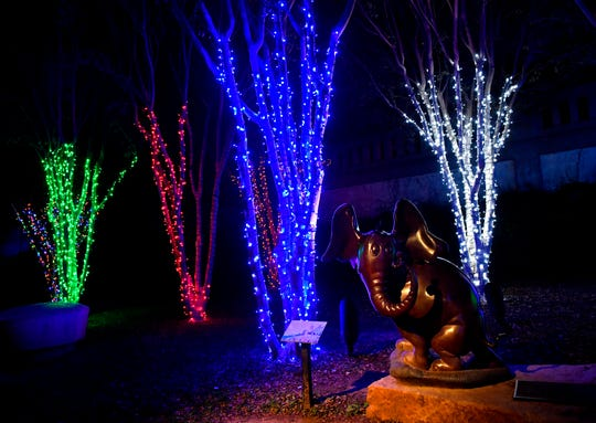 "A statue based on the Dr. Seuss book ""Horton Hears a Who"" is surrounded by Christmas lights at Everman Park Nov. 19, 2018."