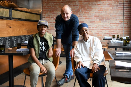 The chefs behind Benne on Eagle, a new restaurant opening in the new Foundry Hotel in The Block, Asheville's historically black business district, are Ashleigh Shanti, left, John Fleer, center, and Hanan Shabazz.