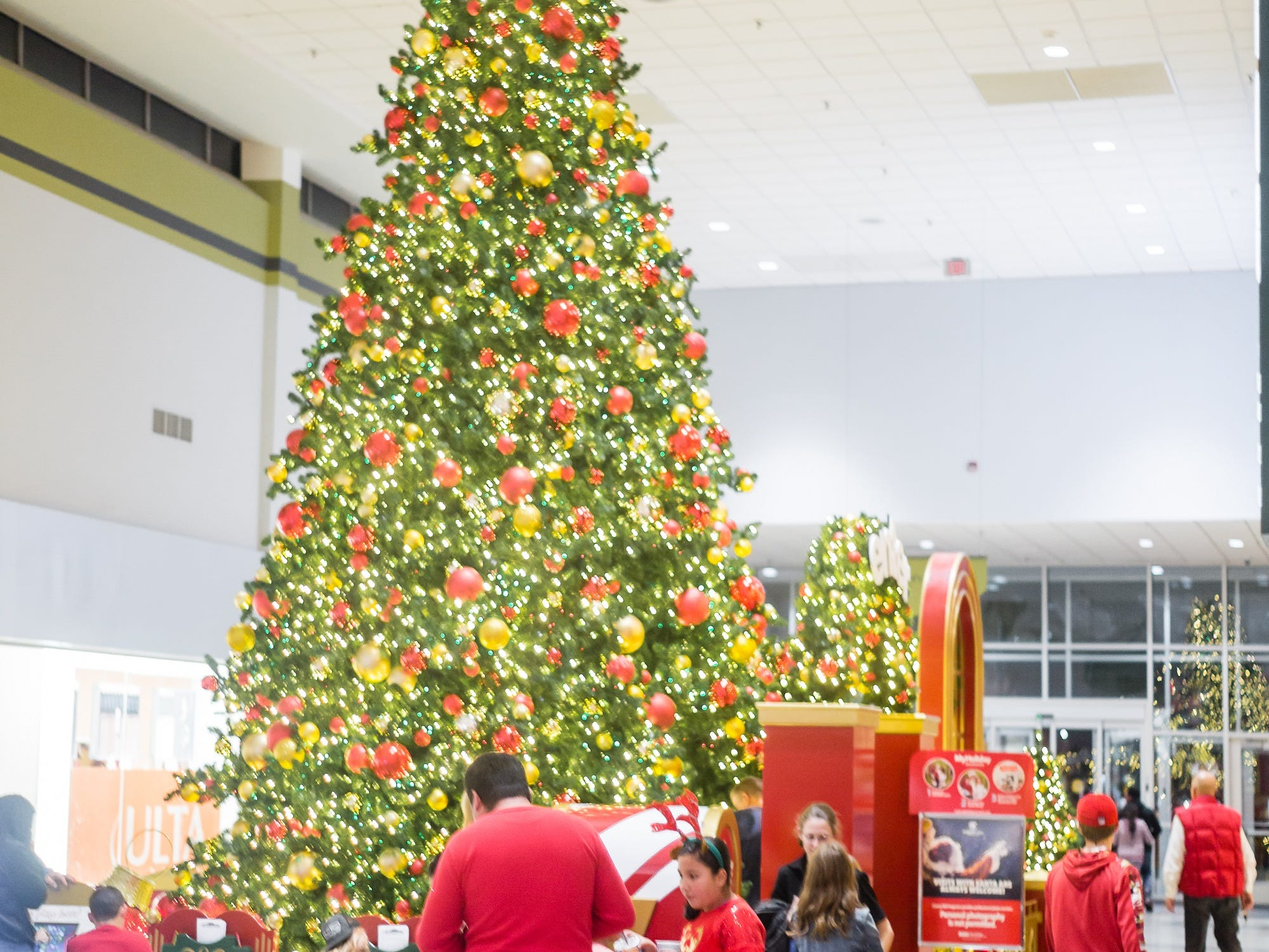 With the Ingles Giving Tree in place and collecting donations for MANNA FoodBank, the Asheville Mall is fully decorated for Christmas, including a home for visits with Santa.