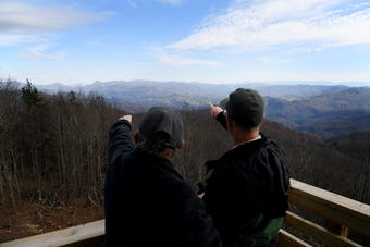 Cleve Fox, district fire management officer for the Appalachian Ranger District of the Pisgah National Forest, recalls the Rich Mountain lookout tower