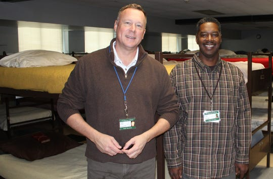 The Haven of Rest Ministries needs blankets,  Executive Director Daniel Jones, at left, says. At right is Todd Artis, manager of the men's shelter at The Haven, inside the homeless shelter in downtown Battle Creek.