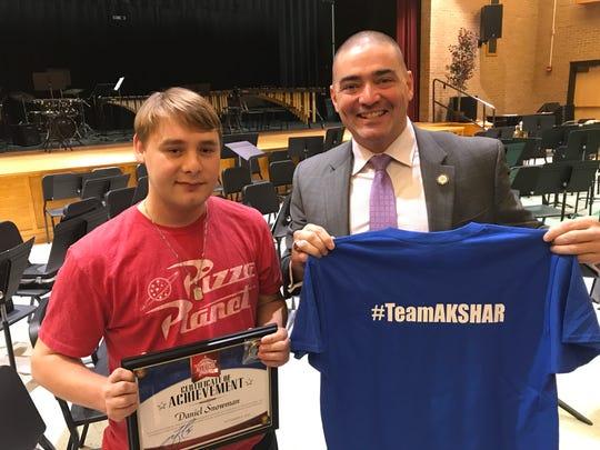 Senator Fred Akshar recognized Spencer Van-Etten High School senior Daniel Snowman as part of his Akshar's All-Stars program.