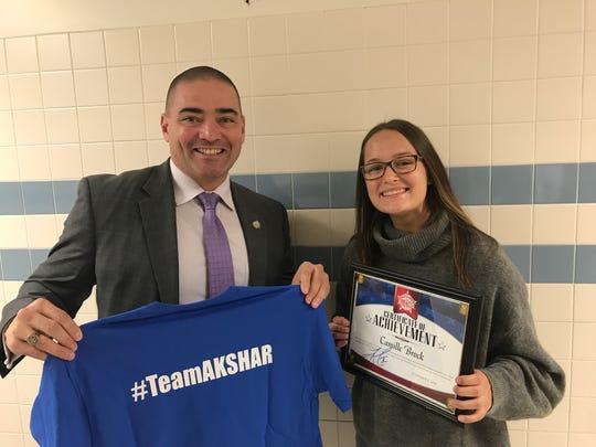 Senator Fred Akshar recognized Candor High School junior Camille Brock as part of his Akshar's All-Stars program.