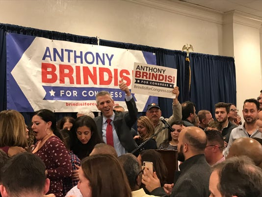 Anthony Brindisi announces his victory on election night