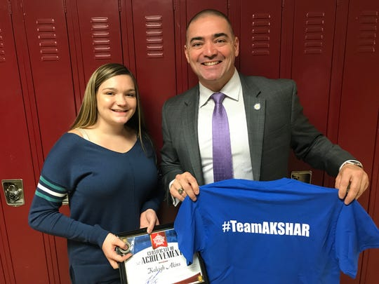 Senator Fred Akshar recognized Waverly High School junior Kaleigh Akins as part of his Akshar's All-Stars program.