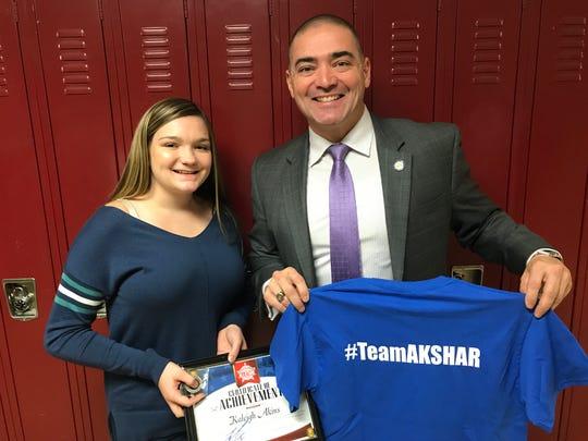 Senator Fred Akshar recognized Waverly High School junior Kaleigh Akins as part of his Akshar's All-Stars program.