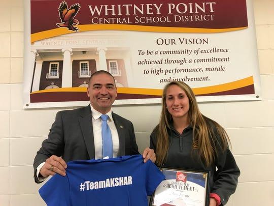 Senator Fred Akshar recognized Whitney Point High School senior Amy Stevens as part of his Akshar's All-Stars program.