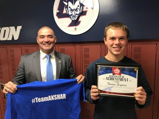 Senator Fred Akshar recognized Chenango Forks Middle School eighth grader Thomas Kapinus as part of his Akshar's All-Stars program.