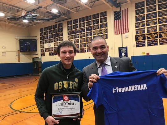 Senator Fred Akshar recognized Tioga Central High School senior Benjamin Coddington as part of his Akshar's All-Stars program.