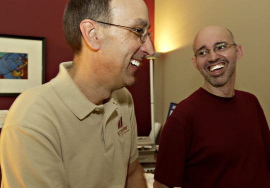 """""""When it comes to contemporary jazz, there is nobody in the community who can do it better than he can,"""" the King Center's Steve Janicki, left, said of Roland Guilarte in 2003, when Guilarte's Brevard Music Group celebrated its 10th anniversary."""