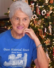 Christine Williams is a tour guide at the 1916 The Grant Historical House, also known as the Bensen House. They are having a fundraiser for the Christmas holiday season, selling a large selection of ornaments and other items, many of them seen in these photos.