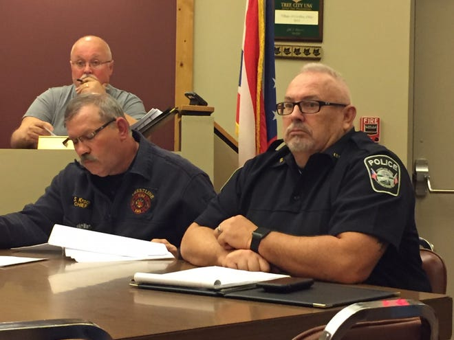 Interim Crestline Police Chief Jeff Shook listens to comments during Monday's meeting of Crestline Village Council.