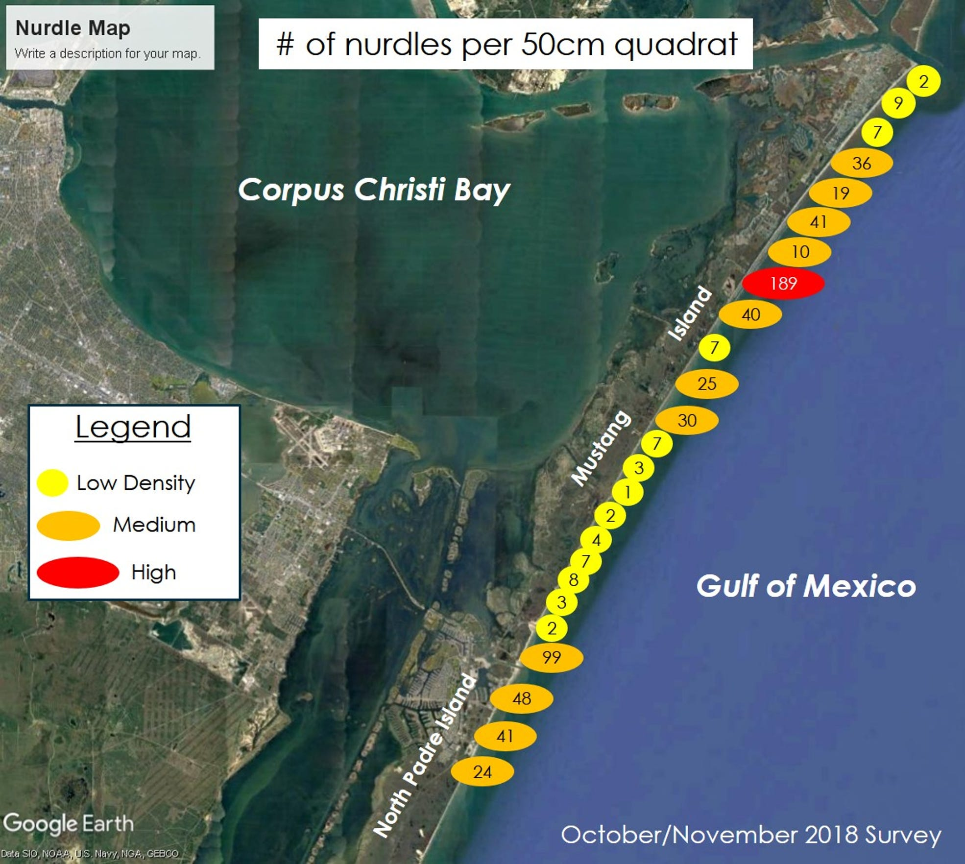 This map shows the nurdle distribution and density of the plastic pellets found along the entire length of Mustang Island.