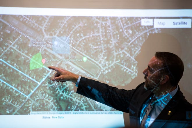 A demonstration of a new GPS decoy system implemented to deter package and bicycle thieves is shown Monday, Nov. 19, 2018 at the Gloucester Township Municipal building in Laurel Springs, N.J.
