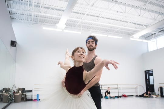 South Jersey native Ian Hussey, 33, right, rehearses with Yuka Iseda for an upcoming production of the Nutcracker Tuesday, Nov. 20, 2018 at the Pennsylvania Ballet in Philadelphia, Pa.
